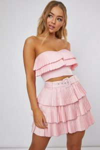 DANI DYER PINK PLEATED FRILL BANDEAU TOP – strapless tiered tops