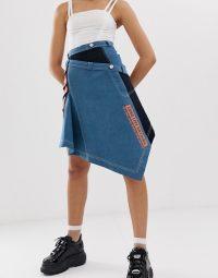 DB Berdan panelled denim skirt in blue | asymmetric hemline skirts