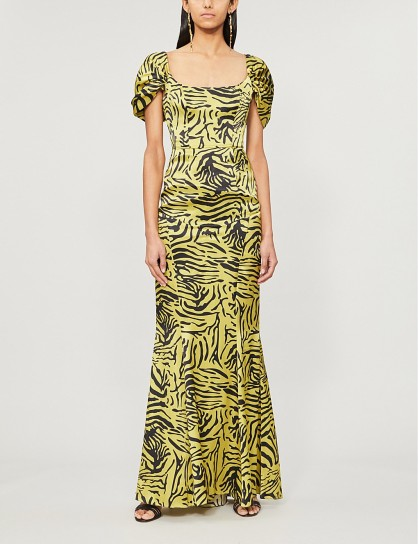 DE LA VALI Alma zebra-print silk maxi dress