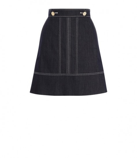 KAREN MILLEN Denim A-Line Skirt ~ topstitch detail