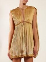 CHLOÉ Dégradé pleated seersucker mini dress in gold ~ luxe event dresses