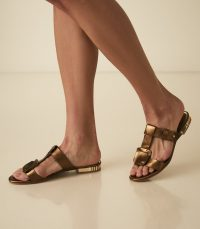 REISS DILONE LEATHER FLAT STRAPPY SANDALS GOLD ~ dark metallic flats