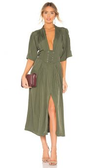 Divine Heritage Laced Up Midi Dress in Olive Branch | green plunge front dresses | lace-up detail | front split