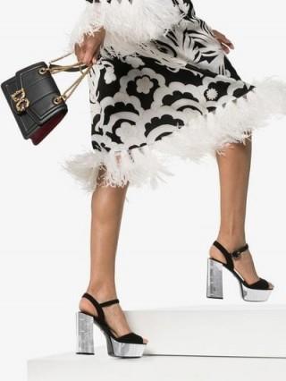 Dolce & Gabbana Black Belluci 120 Mirror Platform Suede Sandals in black / statement platforms