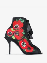 Dolce & Gabbana Black 90 Floral Print Lace-Up Stretch Jersey Boots / peep-toe booties