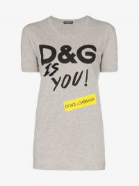 Dolce & Gabbana D&G Is You Print Cotton T-Shirt in Grey / designer logo / slogan tee