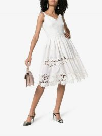 Dolce & Gabbana White Floral Embroidered Fit and Flare Midi-Dress