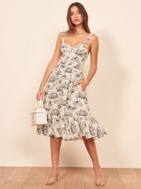 Reformation Dolci Dress in Toile | low sweetheart neckline summer dresses