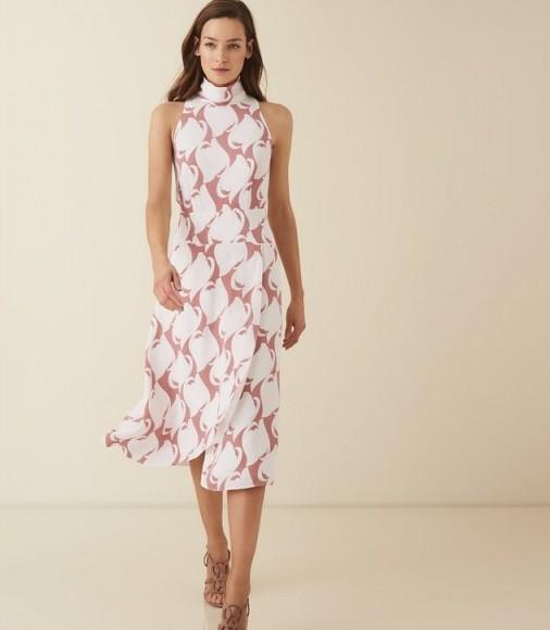 REISS DORIANA PRINT SWIRL PRINTED HIGH NECK MIDI DRESS PINK SWIRL ~ effortless style clothing ~ chic printed dresses
