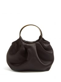 THE ROW Double Circle mini silk-satin bag in black