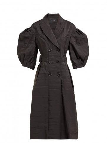 SIMONE ROCHA Double-breasted balloon-sleeve poplin jacket in black ~ voluminous sleeved statement coat