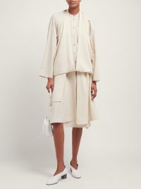 Matches Fashion LEMAIRE Double-layer draped-front silk-blend blouse