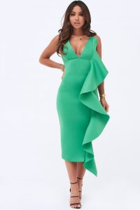 LAVISH ALICE draped frill midi scuba dress in emerald green | plunge front bodycon
