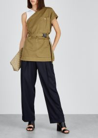 DRIES VAN NOTEN Codding olive cotton top. DARK-GREEN ONE SHOULDER TOPS