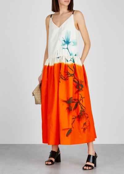 DRIES VAN NOTEN Dita printed cotton-blend dress ~ painterly prints ~ summer fashion