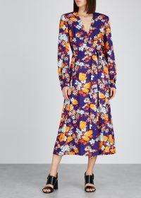 DRIES VAN NOTEN Dove floral-print jacquard wrap dress in purple ~ tie waist dresses