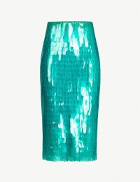 DRIES VAN NOTEN High-waist sequinned skirt in green ~ fringed plastic pencil skirts
