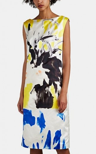 DRIES VAN NOTEN Painted-Floral Satin Shift Dress ~ abstract flower prints