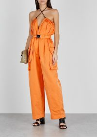 DRIES VAN NOTEN Pavel orange shell cargo trousers | multiway pants | strappy plunge front jumpsuit