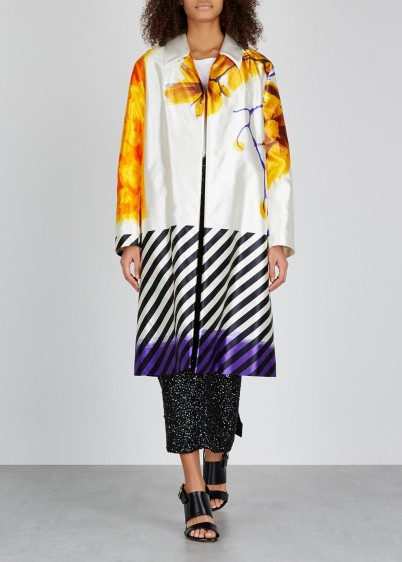 DRIES VAN NOTEN Ramona printed cotton and silk-blend coat / bold mixed prints / floral coats