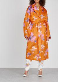 DRIES VAN NOTEN Rubor printed silk-blend cloqué jacket in orange / luxe statement coats