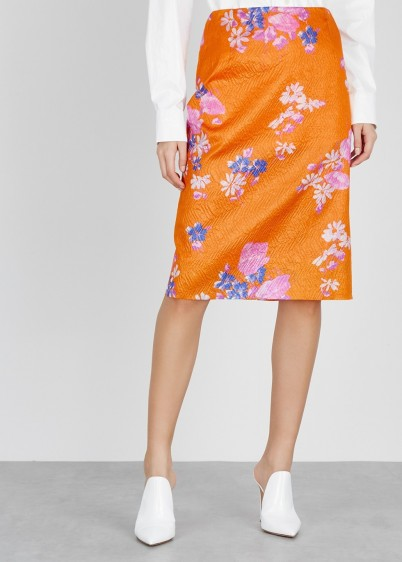DRIES VAN NOTEN Sal orange silk-blend skirt ~ floral pencil skirts