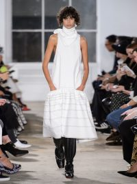 RUNWAY PROENZA SCHOULER Dropped-waist topstitched stretch-cotton dress | Matches Fashion