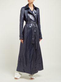 GABRIELA HEARST Dunne waxed trench coat in navy ~ maxi coats