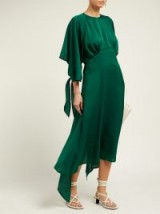 Effortless style clothing ~ PETAR PETROV Duran asymmetric draped silk-blend midi dress in green