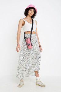 UO White Floral Beach Button-Through Midi Skirt / ditsy prints