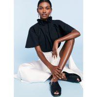 G. Label EBONY PLEAT-NECK TOP in Black | feminine soft-pleated blouse