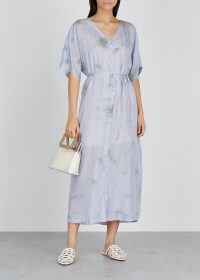 EILEEN FISHER Lilac tie-dye silk shirt dress ~ spring dresses