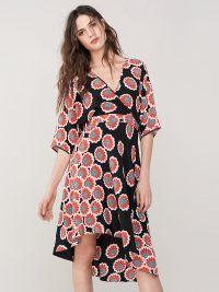 Diane von Furstenberg Eloise Silk High-Low Midi Dress Kimono Blossom Black ~ oriental inspired
