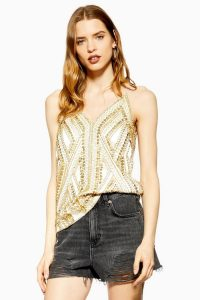 Topshop Embellished Cami in Gold | luxe camisole