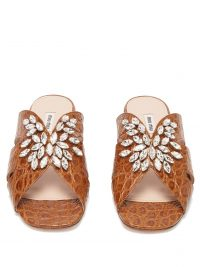 MIU MIU Embellished crocodile-embossed leather slides in brown