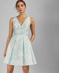 TED BAKER LEIANNA Embroidered full skirt mini dress in mint / green floral fit and flare