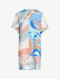 EMILIO PUCCI Graphic-print silk-crepe dress Talpa/fiordaliso. MULTI PRINTED SHIFT