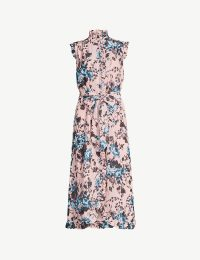 ERDEM Selba floral-print silk-crepe midi dress in pink / turquoise ~ high neck ruffle trimmed dresses