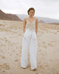 NILI LOTAN ESMAE PANT NATURAL | lightweight linen trousers