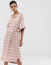 Essentiel Antwerp Square straight dress in tan / relaxed tie waist dresses
