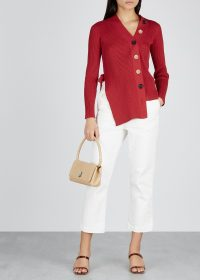 EUDON CHOI Melanie burgundy stretch-knit cardigan ~ chic asymmetric cardi