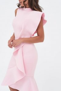 LAVISH ALICE extreme frill peplum hem scuba midi dress in pink | statement ruffles | party glamour