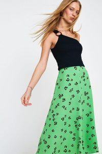 Dot & X Mila Floral Midi Skirt in Green