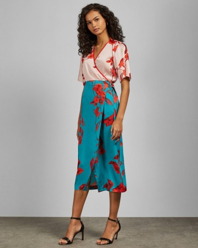 TED BAKER LILYYY Fantasia split hem midi skirt in turquoise / blue floral skirts