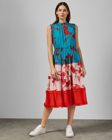 TED BAKER CAMELIS Fantasia tiered midi dress in turquoise / frill trimmed dresses