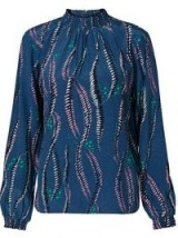 Oliver Bonas Feather Print Blue Blouse in Blue / abstract prints