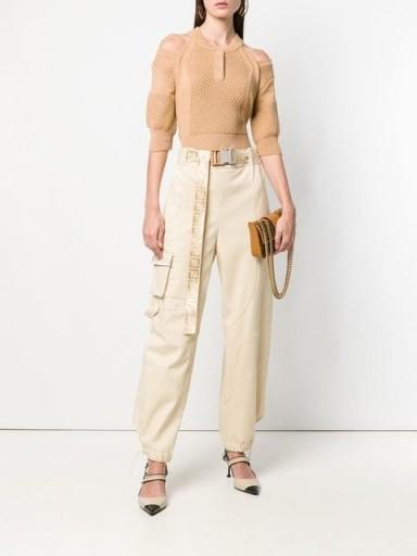 FENDI logo belted cargo trousers | casual luxe | beige side pocket pants