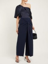 Chic knot front navy trousers ~ ROLAND MOURET Fenwick knotted high-rise crepe trousers