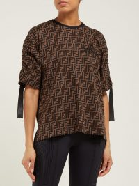 FENDI FF-logo printed jersey T-shirt in brown ~ contemporary designer tee