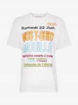 Filles A Papa Slogan Print Crew Neck T-Shirt in White / multicoloured slogans in French